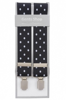Black Trouser Braces with Large White Polka Dots